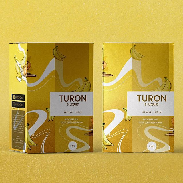 E-liquid packaging box illustration. Flavour: TURON    #illustration #illustrator #banana #pattern #graphic #design #graphicdesign #foil #patterndesign #foil #procreate #procreateillustration