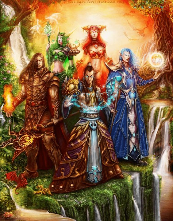 World of Warcraft fan art of the 5 original dragon aspects. By artist Keisinger037