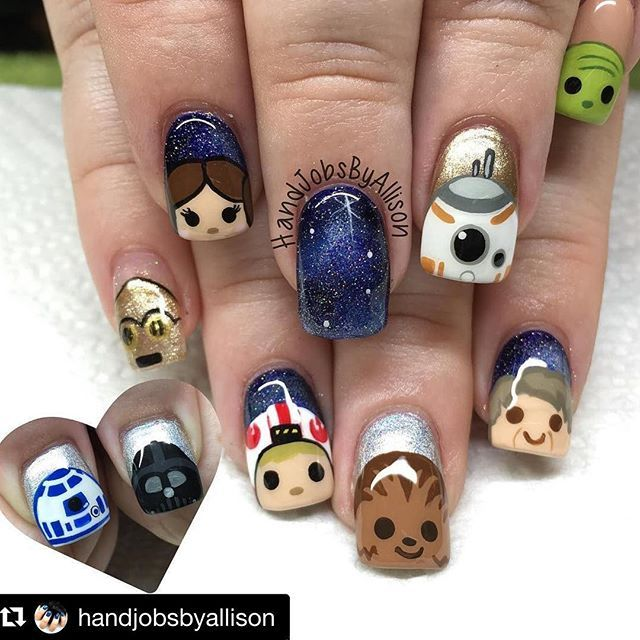 Adorable Wars - This manicure by HandJobs by Allison is flawless. From the adorable Tsum Tsum Chewy, Han, BB8 and R2D2 to that stunning galaxy nail... These are nails skills to aspire to!