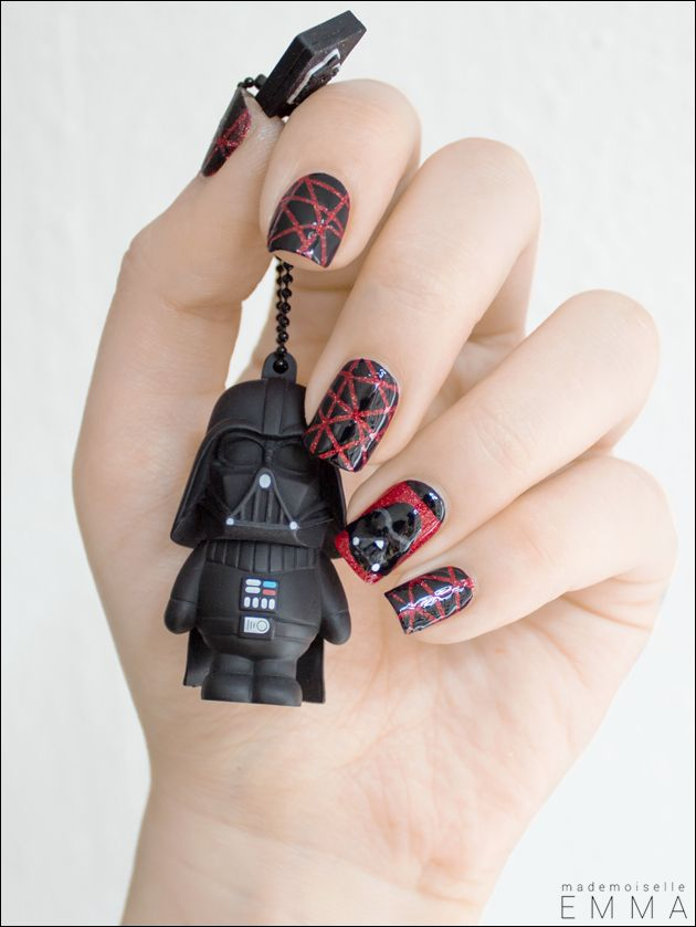 Darth Vader - Celebrate the Dark Side with this gorgeous red sparkle and black lacquer mani featuring Darth Vader himself. Those criss cross nails are on point!
