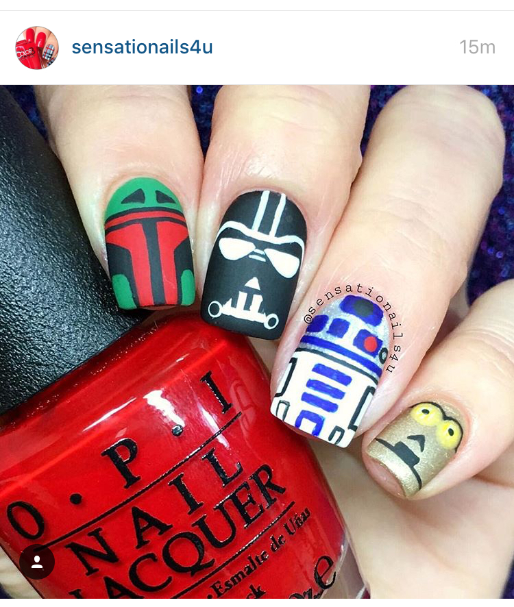 Matte - Matte manis are all the rage these days, and this one certainly lives up to the hype. From Boba Fett to C-3PO, @sensationalnails4u nails it.
