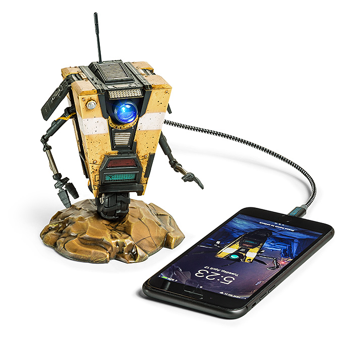 Borderlands Claptrap Talking USB - Let me introduce the CL4P-TP steward bot, but his friends just call him Claptrap. When he has his eye he can charge up to 4 USB's simultaneously. He'll even toss in 5 lines of dialogue if he feels like it. But unlike in the Borderlands games he is featured, this fancy little robot comes with his own mute button. Hallelujah!