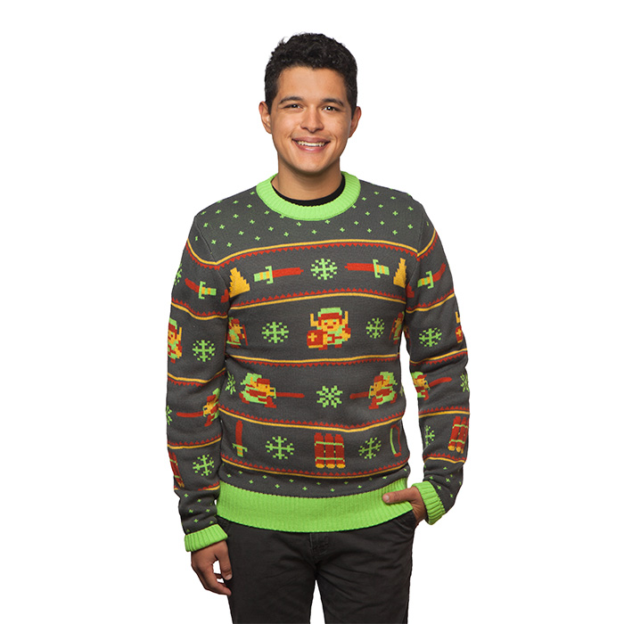 The Legend of Zelda Holiday Sweater - Get into the spirit of saving Hyrule with this comfy sweater made of 100% acrylic fibers and 200% of awesome spin attacks. Although in the category of clothes, this unique sweater will give you a power-up at holiday parties and promote compliments from grandma who just thinks Link is a cute bear and the swords are Christmas trees.