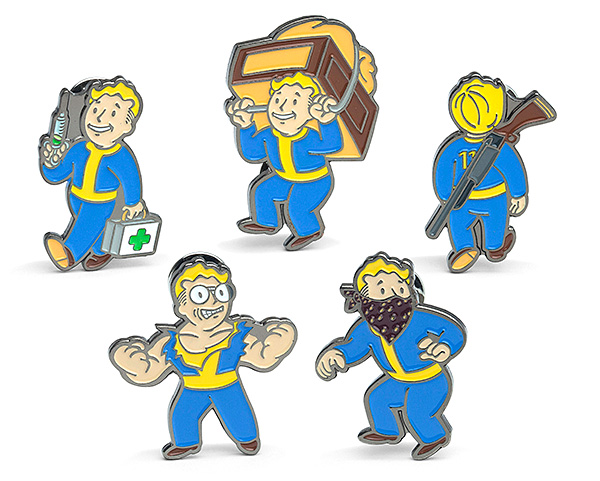 Fallout Enamel Pins 5-Pack Set - Enamel pins are finally back in style and Fallout was prepared. There are 4 different pin sets to choose from ensuring that when you do step into the post-apocalyptic world at least you'll do it in style.