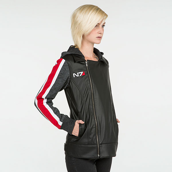 Mass Effect N7 Armour Stripe Faux Leather Asymmetrical Ladies Jacket - I'm Commander Shepard and this is the most stylish jacket on the Citadel. But seriously, who wouldn't want to represent Earth's greatest heroes in the war against the Reapers?