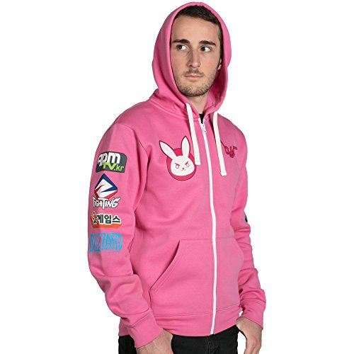 Overwatch D.VA Ultimate Zip-up Hoodie - Represent one of Overwatch's most iconic and 4th wall-breaking characters, D.Va. This insanely soft and brightly colored hoodie is a perfect alternative to a boring old t-shirt, please ThinkGeek.com, Nerf This!