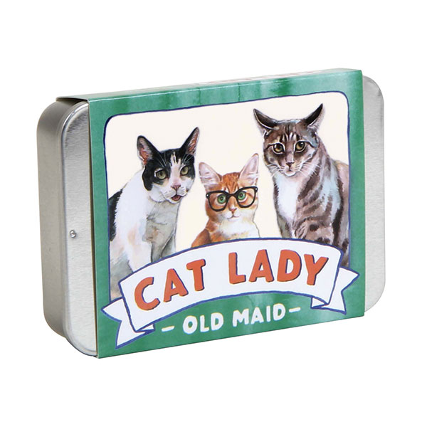 Cat Lady Old Maid - Sick and tired of people calling you the crazy cat lady? Well settle things with a game of Cat Lady Old Maid! Either has a sincere gift or a funny joke gift, this card game packs a bunch of quality cards into a portable tin, ready for any situation.