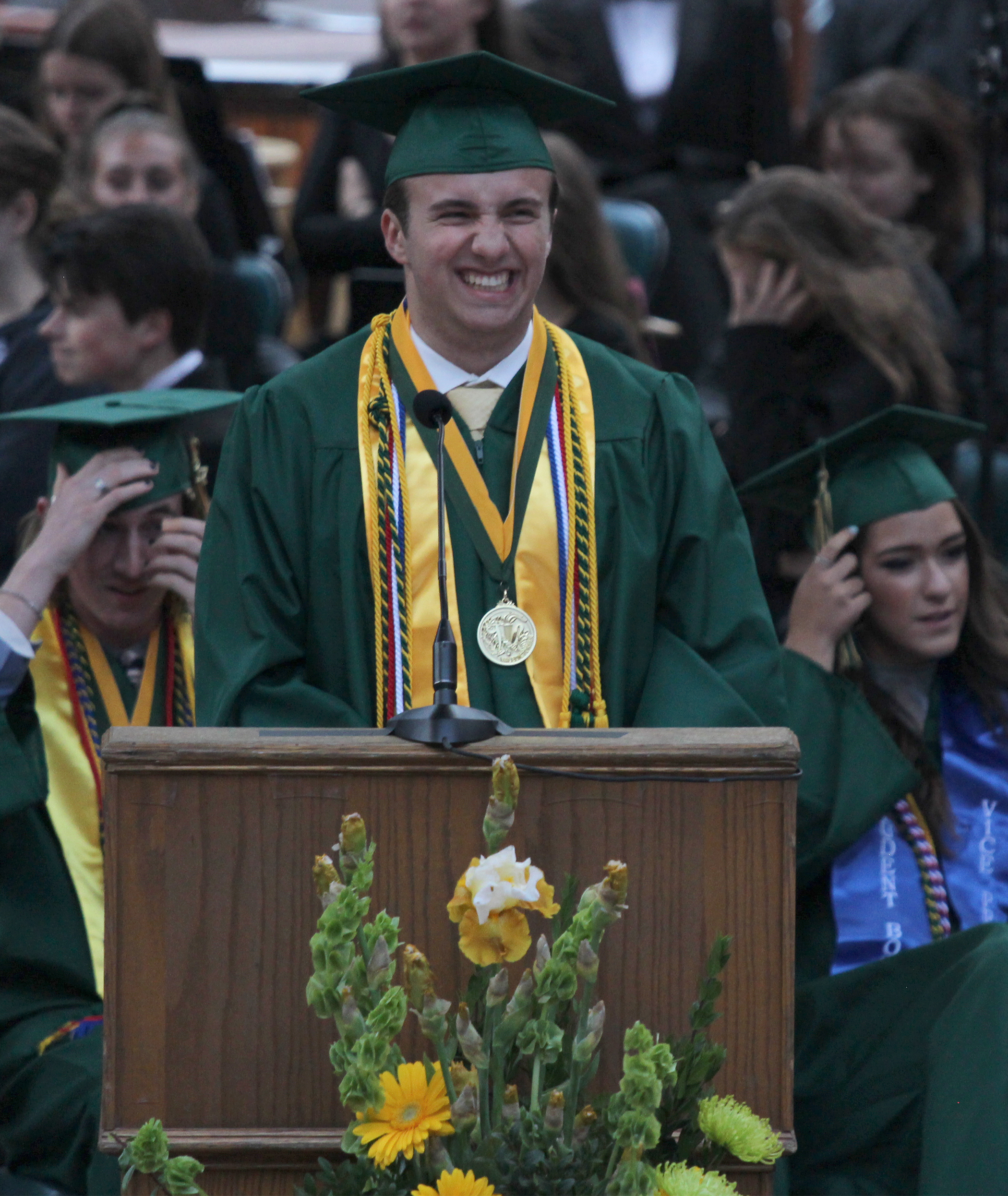 Senior and valedictorian Alec Yagey gives a compelling speech about high school and the education system at the 2017 Red Rocks graduation.