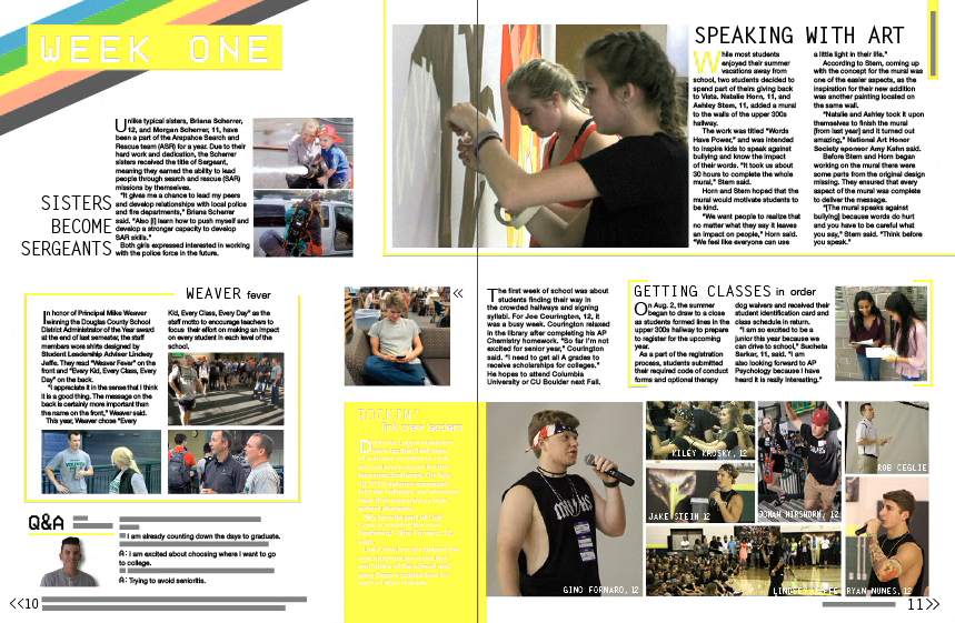 This is the first chronological spread in the yearbook. The colors vary between seasons but the mods and design elements are fairly similar throughout our six variations of spreads.