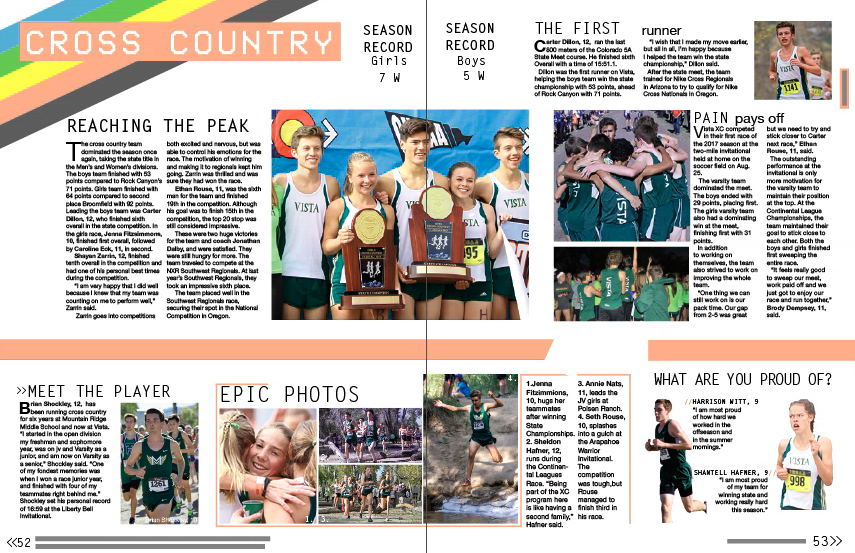 This is one of the fall sports spreads I designed. I tried to keep the original design elements while leaving room for various sports mods. Keeping up with different sports levels and getting the balance of photos versus text was difficult at first but I'm proud of how it turned out.