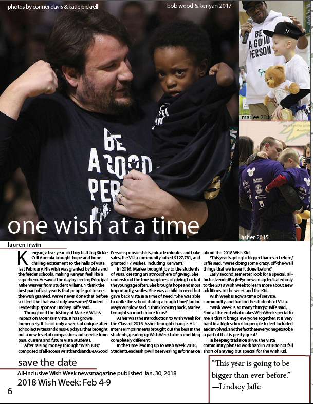 I designed this page promoting past and future Wish Week's in our second issue of the Eagle Eye this year.