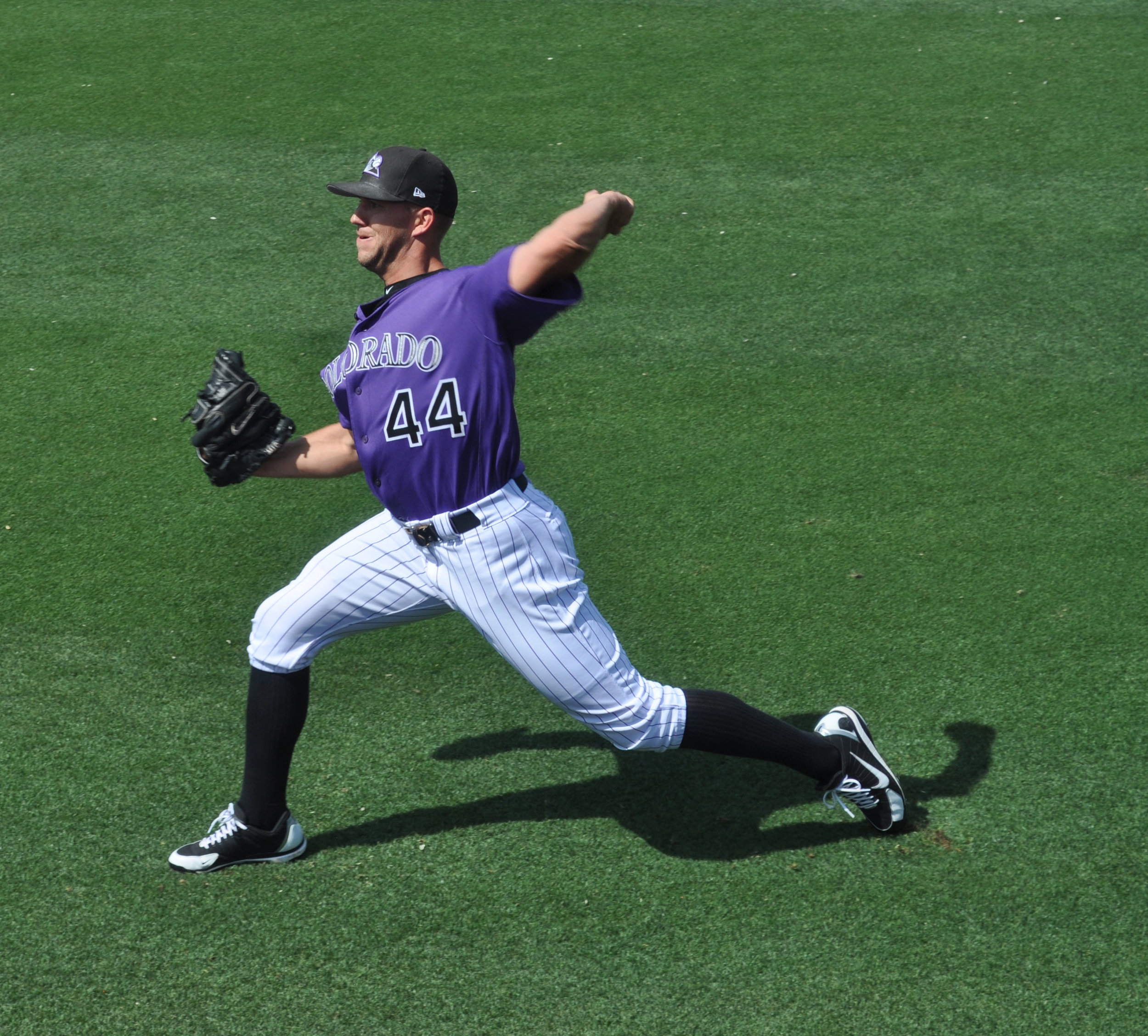 Colorado Rockies pitcher, Tyler Anderson, warms up before a preseason game against the Chicago Cubs.