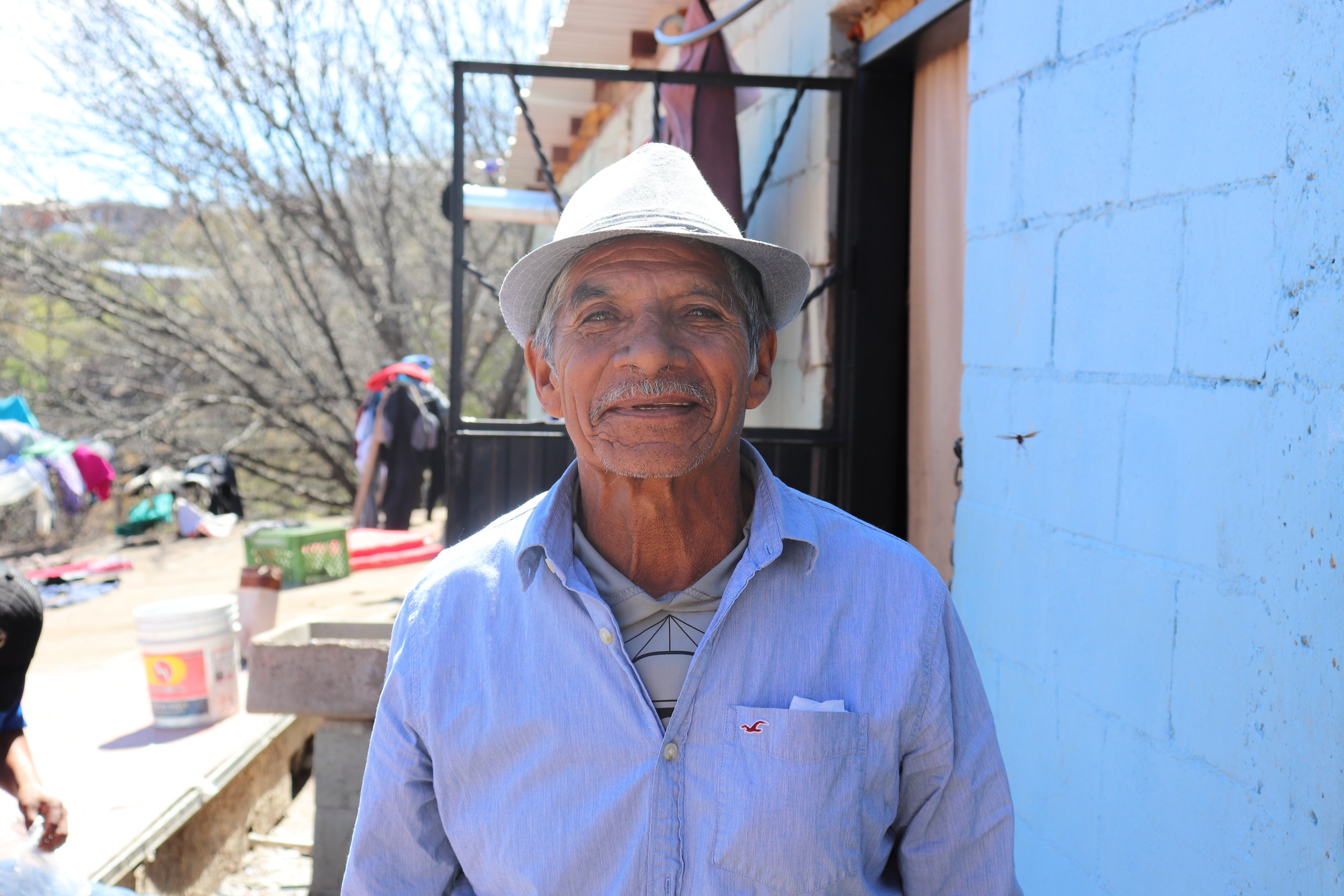 This is the oldest migrant at the shelter, he is 85 years old and traveling with his daughter. After my visit I found out that he will not be allowed entry into the U.S. because of his age. He has decided to go back to Guerrero, Mexico to live out his days. He does not fear the cartel since he is at such an old age.