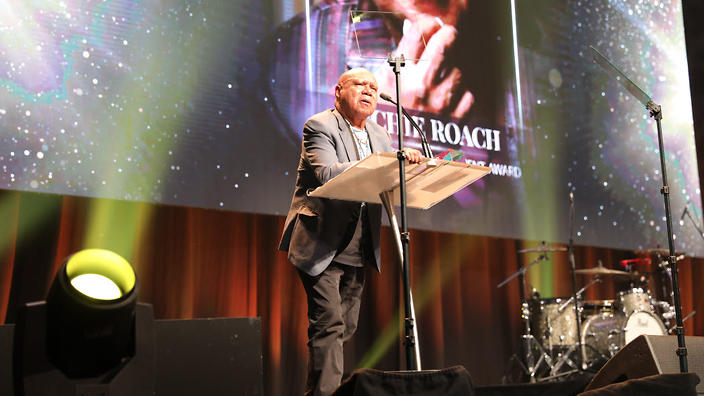 Archie accepting his award for Lifetime Achievement at the 2018 Dreamtime Awards.