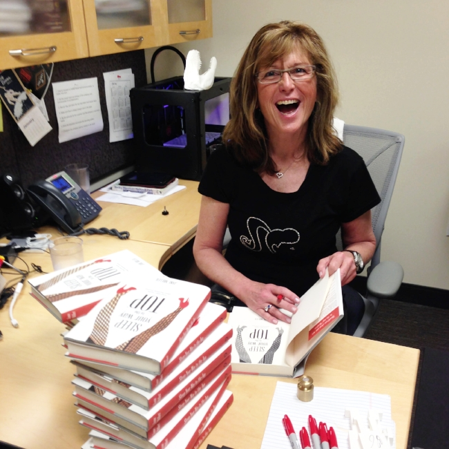 Jane signing copies of her book  Sleep Your Way to the Top (and Other Myths About Business Success) .