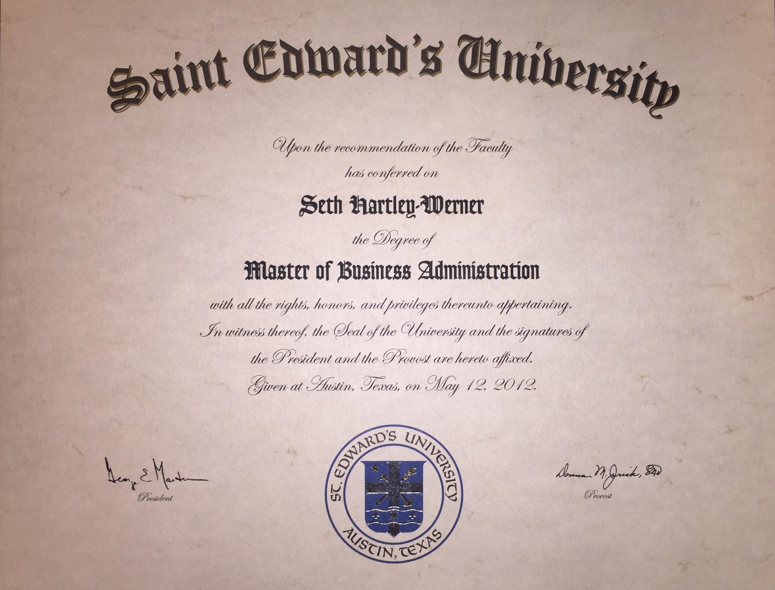 Master of Business Administration - St. Edward's UniversityAustin, Texas2012