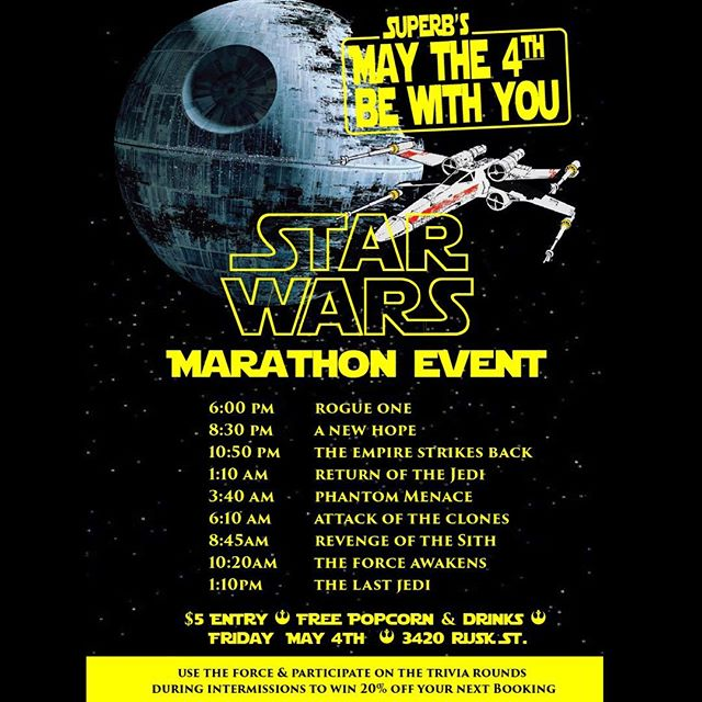 Hey everyone! We're super excited to be doing this movie marathon on May The Fourth.  We will begin seating at 5:30pm and space is limited so be sure to be there early!  We will have chairs available but highly encourage you bring a sleeping bag or Tauntaun to cozy up in.  For any questions about the event feel free to shoot us a DM and a member from our team will get back to you!