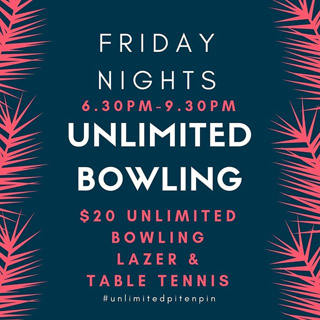 We've got our usual Friday night going on this week, but next week we've got a private booking so we have moved our Unlimited to a special one off Glow party from 8.30-10.30pm for $15pp! We can't wait!! 🤩🙌🏻#pitenpin #unlimitedpitenpin #fridaynights #tenpinbowling #bringtheglowsticks #glowparty