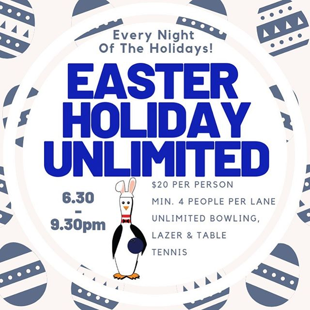 Starting tomorrow night, we have Unlimited bowling every night for the School Holidays!! 🐰🍫🎳🏓🔫 #unlimitedpitenpin #easterholidays #pitenpin #bowling #lazertag #tabletennis #bunnybowling #wewantallofthechocolate