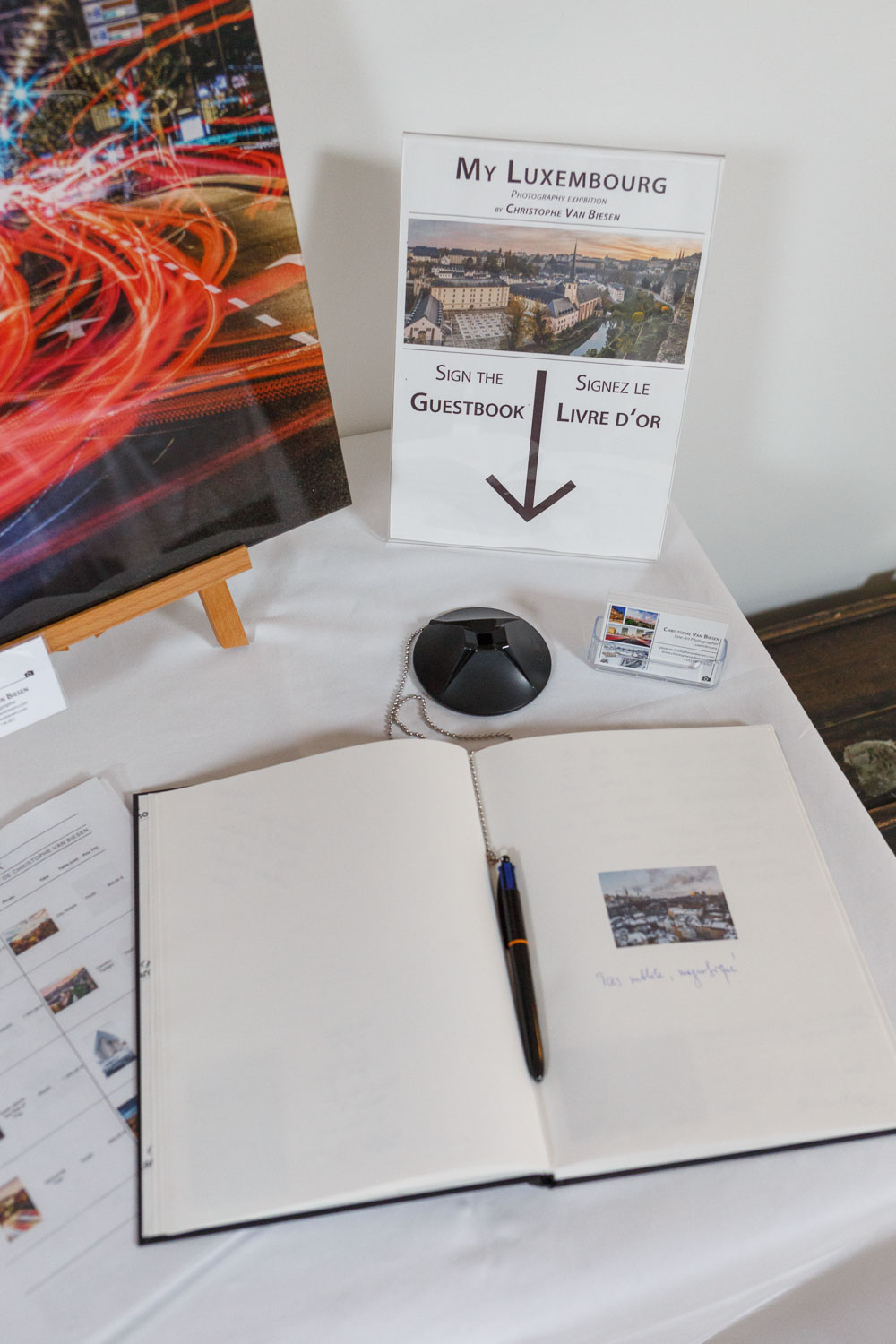 Sign my guest book at the photography exhibition at the Yves Radelet in Drauffelt in the North of Luxembourg
