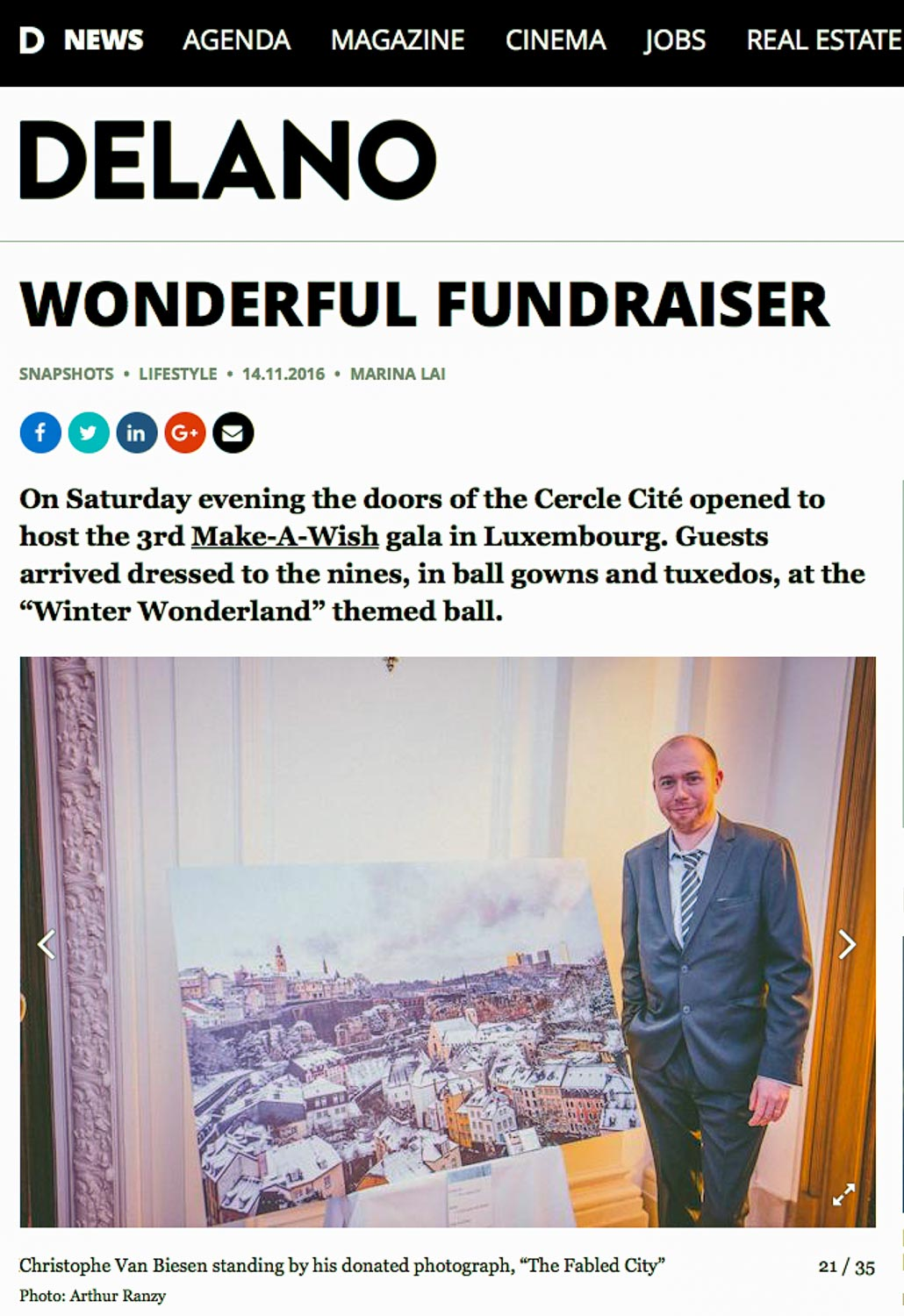 Article in Delano Magazine Luxembourg about Make-A-Wish Luxembourg Winter Wonderland Gala and Auction 2016