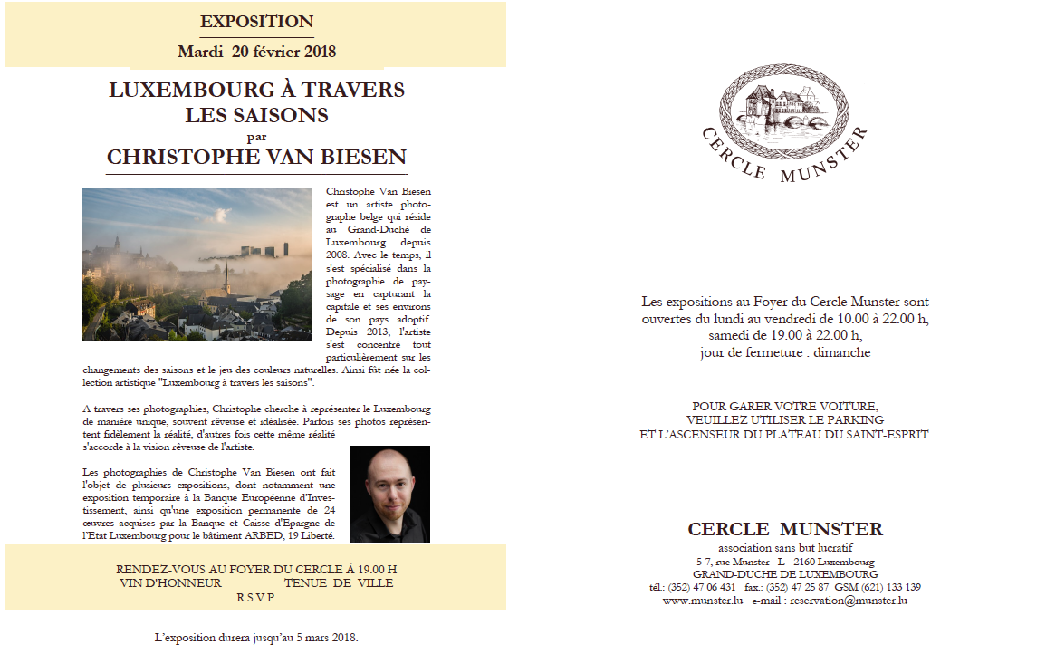 Exhibition at Cercle Munster by Christophe Van Biesen - Landscape and Travel Photographer from Luxembourg - Official invitation
