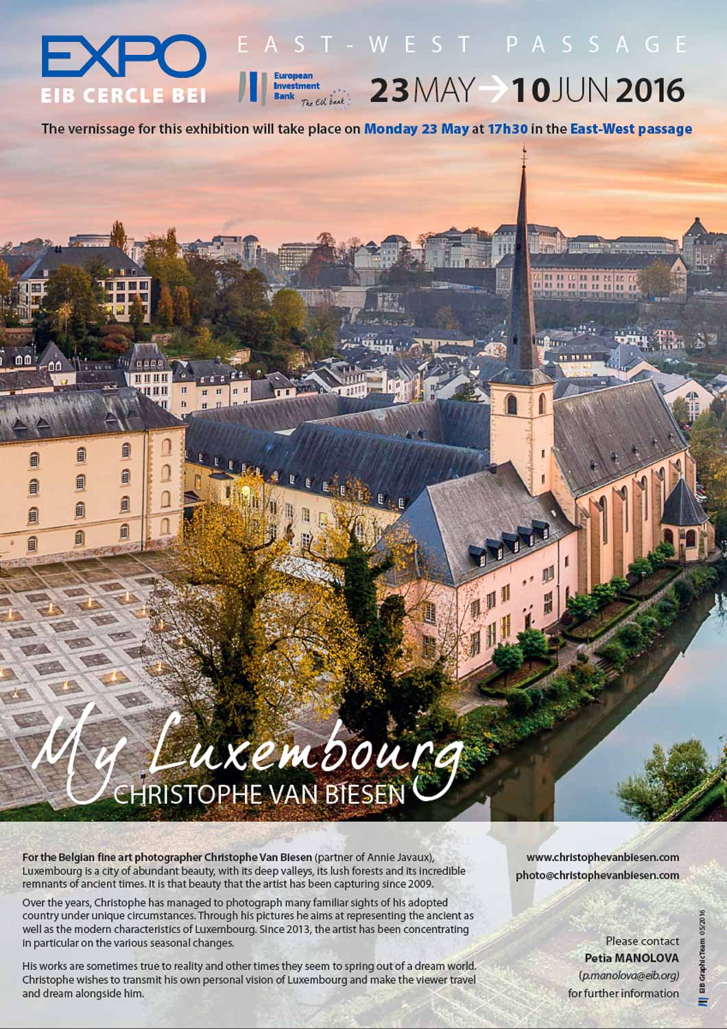 Official invitation poster of the My Luxembourg photography exhibition by Christophe Van Biesen at the European Investment Bank in Luxembourg City
