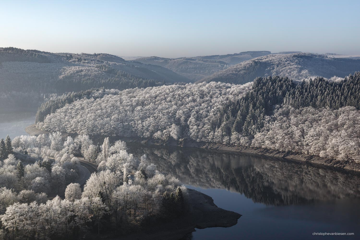 Snow in Luxembourg - Winter at the Upper-Sure Lake in the Grand-Duchy of Snow in Luxembourg - Along White Shores