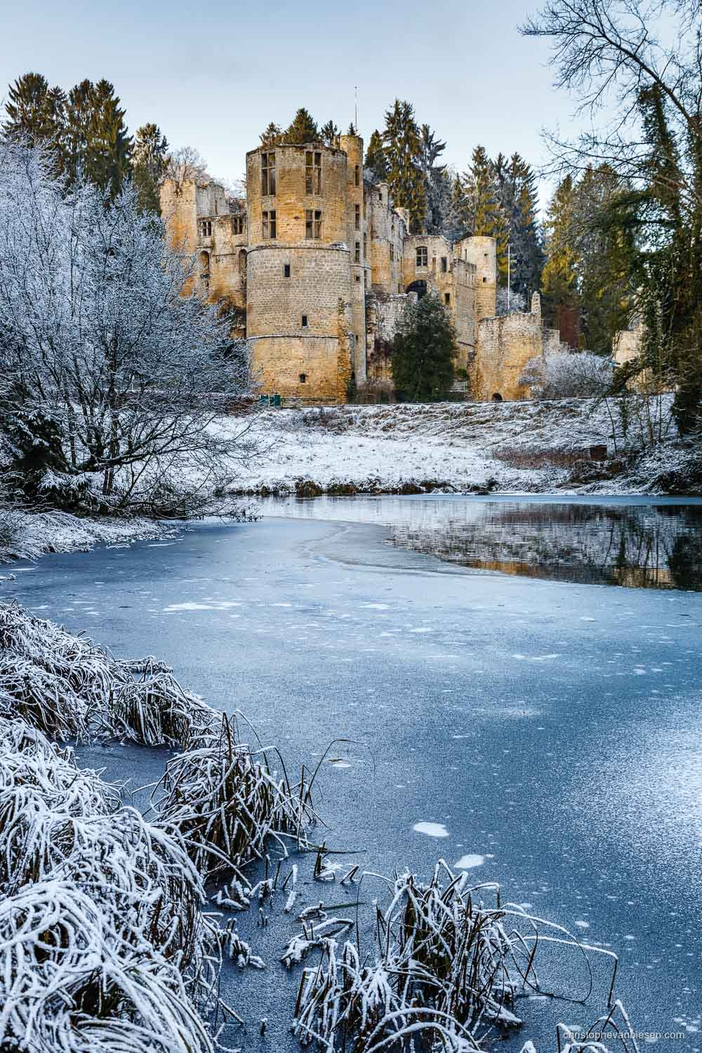 Snow in Luxembourg - The Beaufort Castle in Luxembourg during winter - Ice Castle
