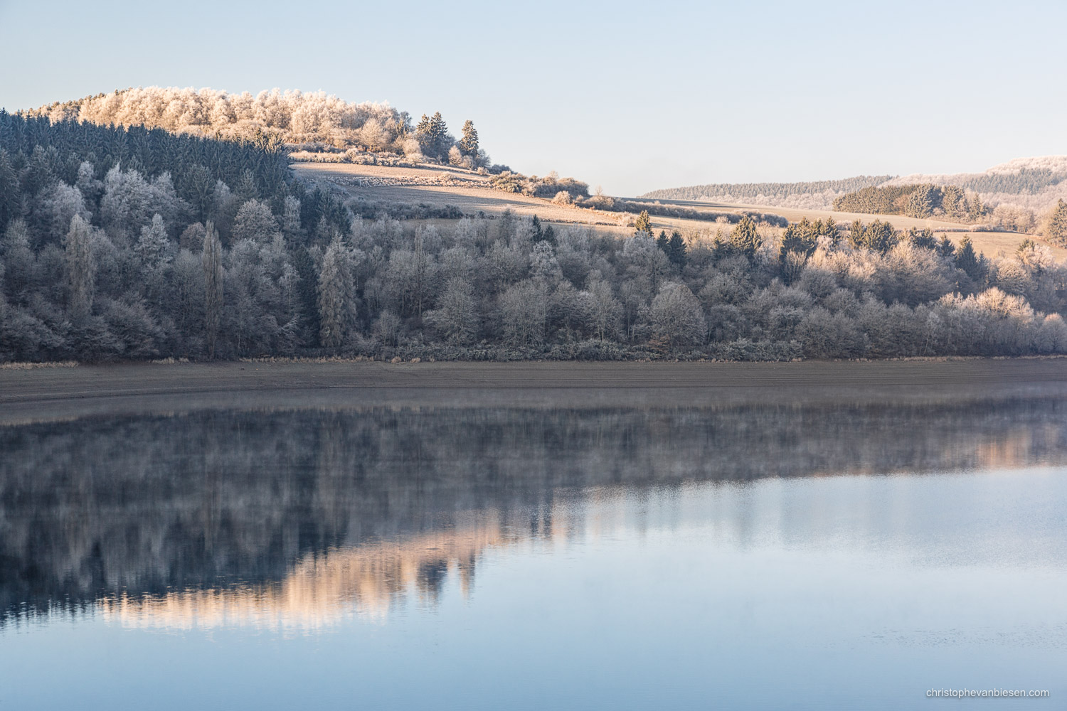 Snow in Luxembourg - Winter at the Upper-Sure Lake in the Grand-Duchy of Snow in Luxembourg - Cold Reflection