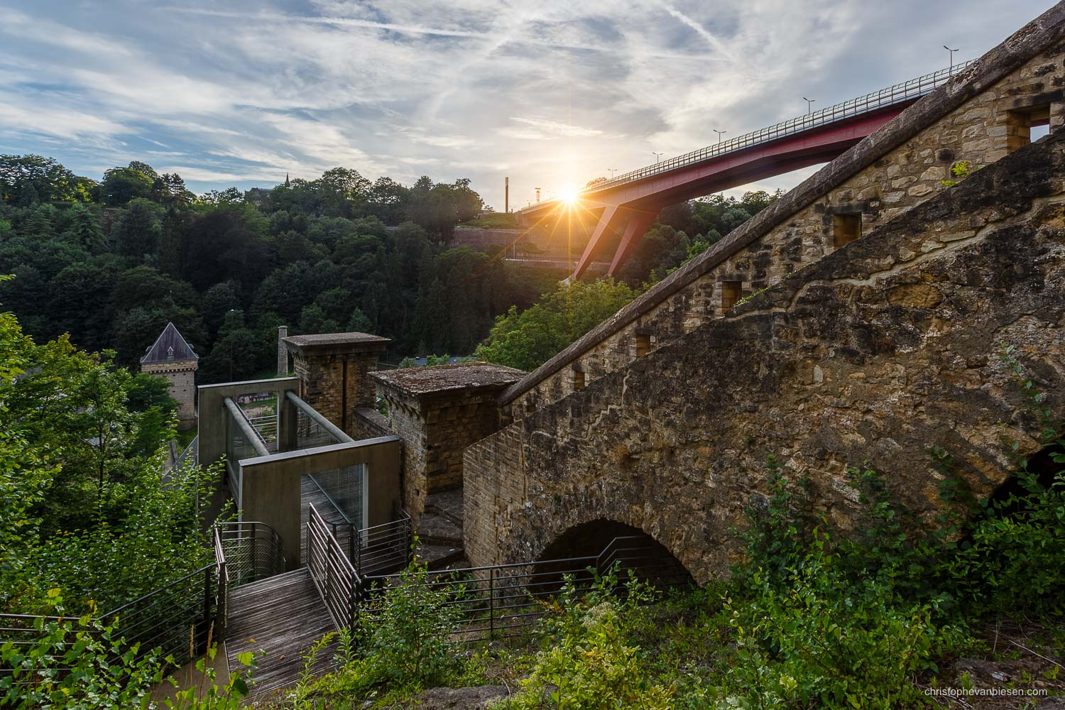 Luxembourg City - The Grand Duchess Charlotte Bridge seen from the ancient battlements over Luxembourg's Pfaffenthal - Along the Battlements