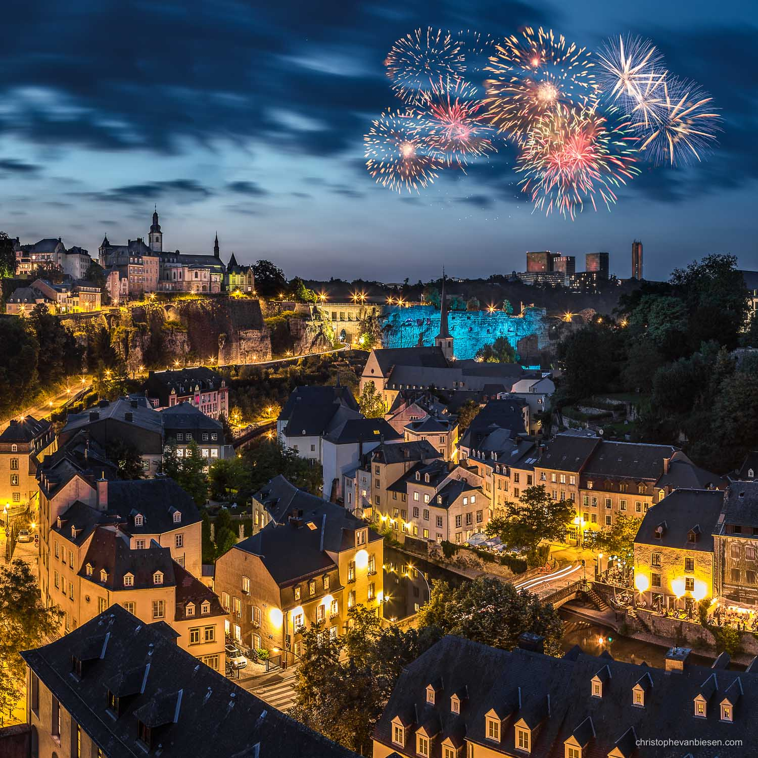 Luxembourg City - Fireworks over Luxembourg City during the country's Naional Holiday taking place on the eve of the 23rd June - Rain and Fire