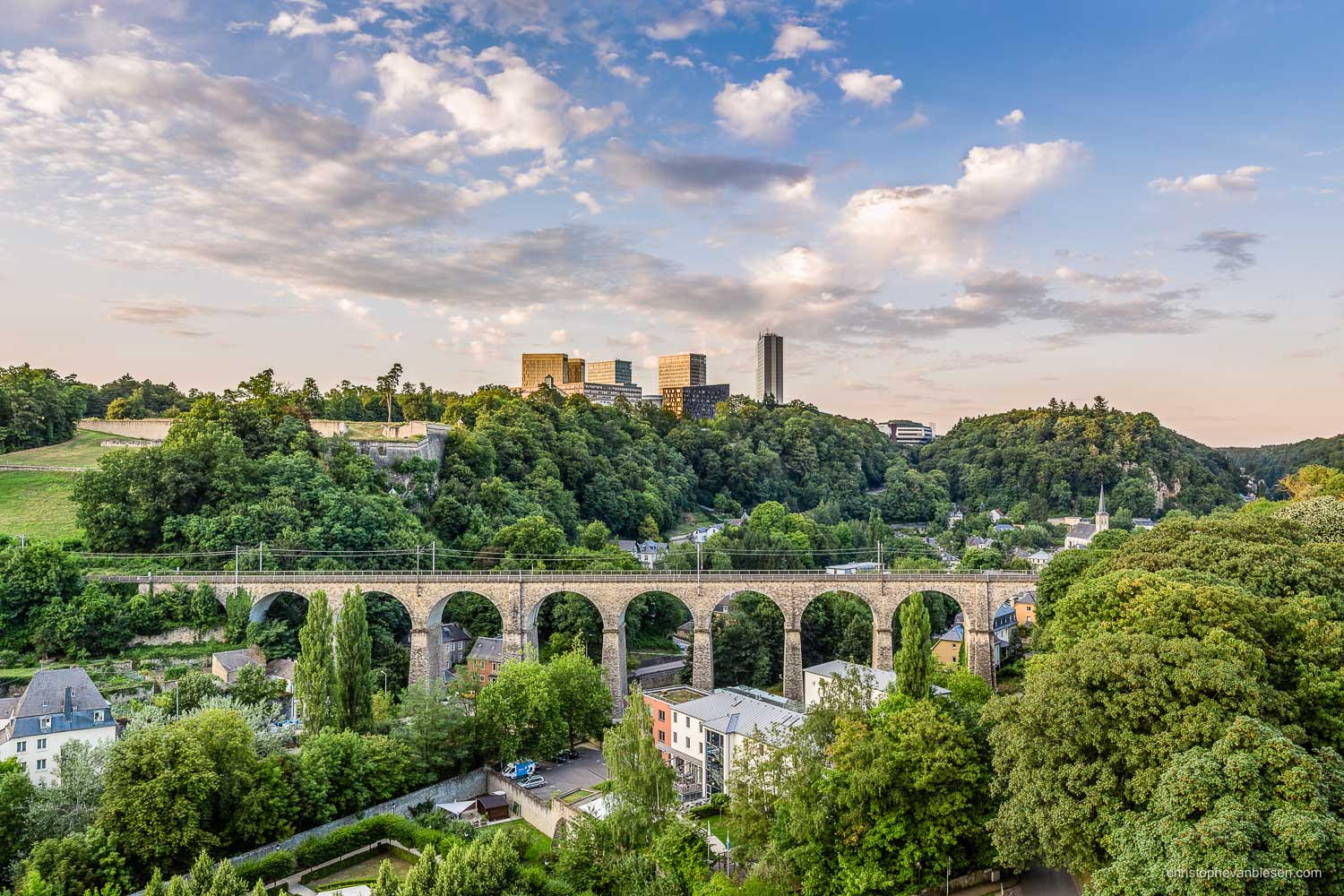 Summer in Luxembourg - Luxembourg's Kirchberg and Pfaffenthal with the Old Bridge, also known as the Passerelle - Steel and Stone