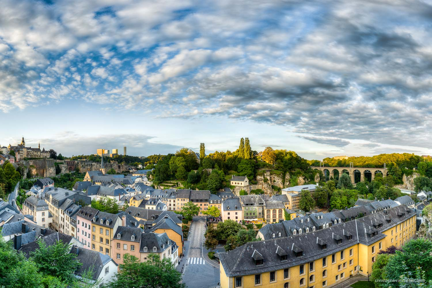 Summer in Luxembourg - Panoramic view over Luxembourg's Grund on a sunny summer day - Gibraltar of the North