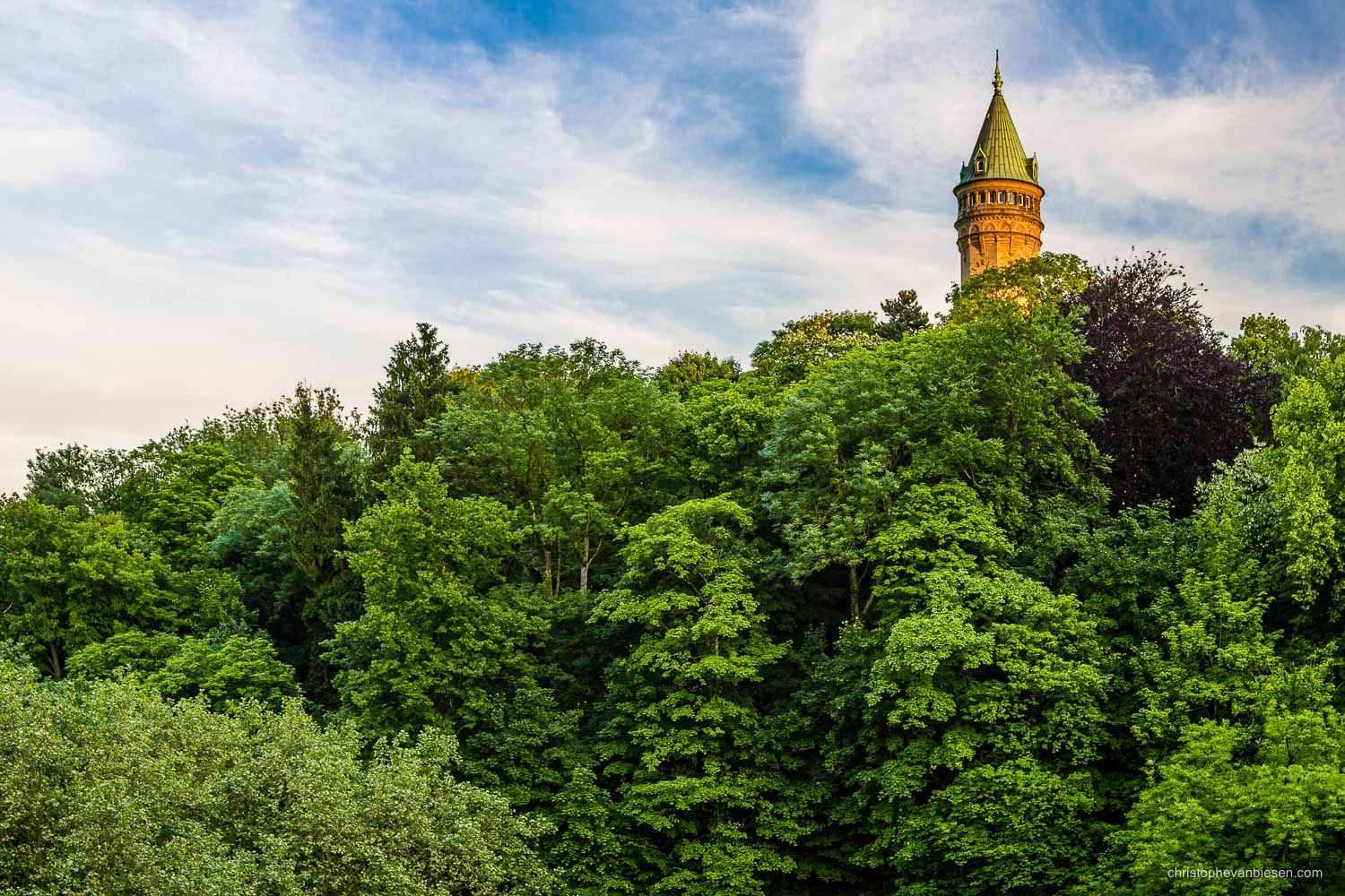 Summer in Luxembourg - The BCEE tower standing high above the lush forests of the Petrusse valley - Maiden Tower