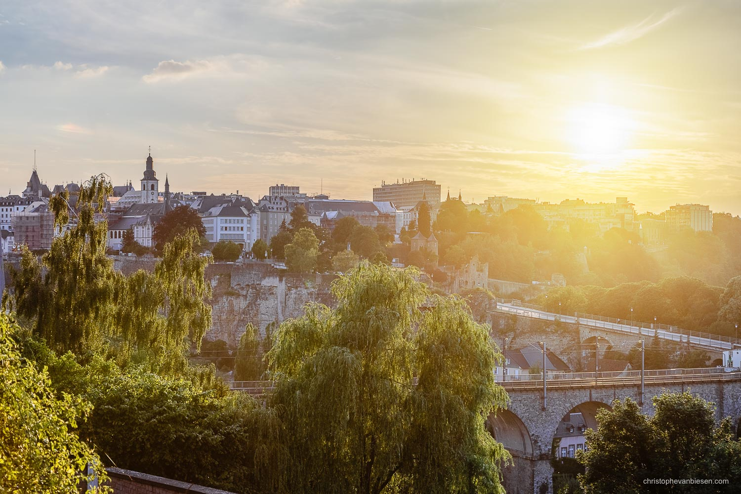 Summer in Luxembourg - Bright sunset over Luxembourg City's Grund - Summer's Embrace