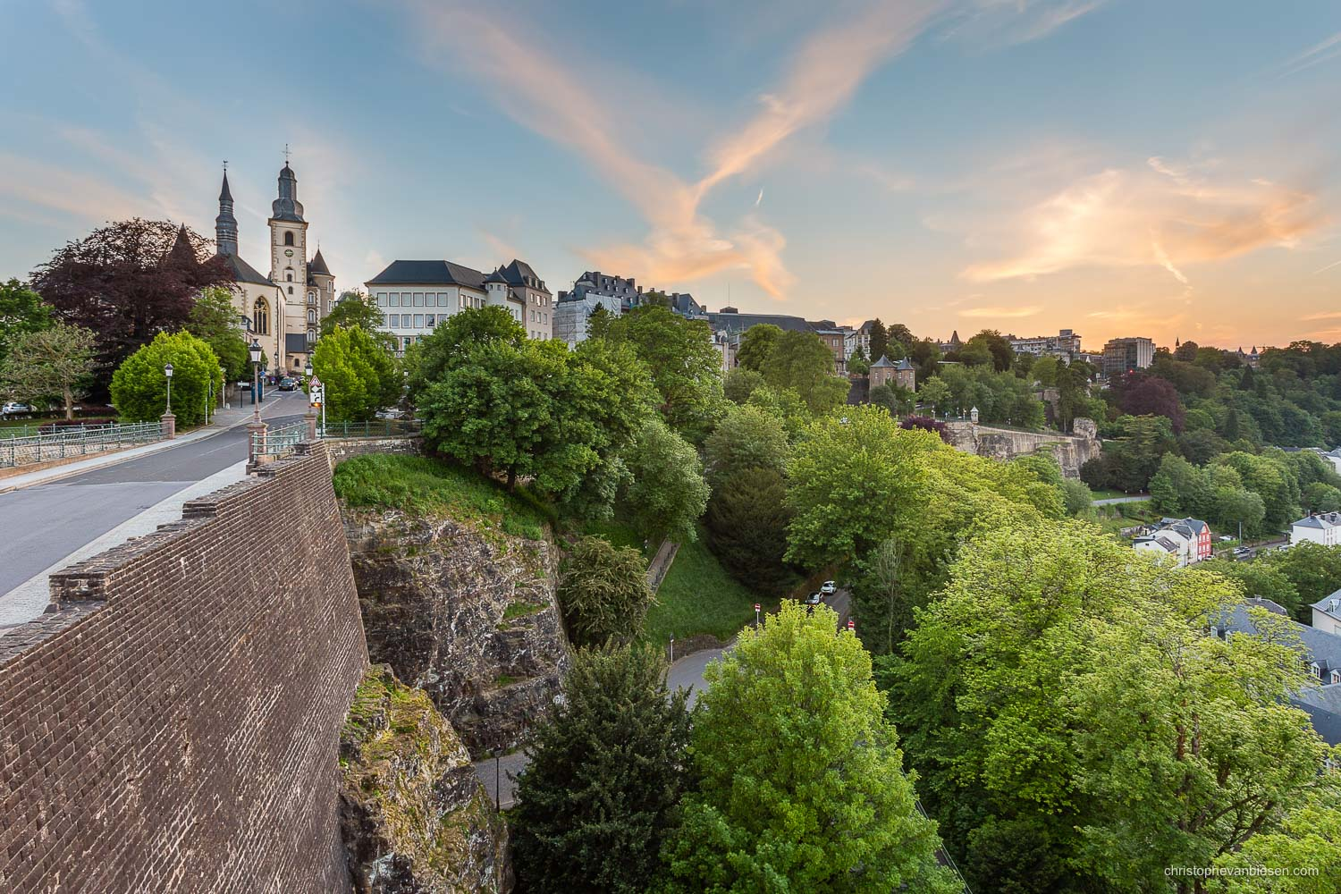 Summer in Luxembourg - Luxembourg's Saint Michael's Church on top of of the fortress that divides Grund and Pfaffenthal - Atop the Valley