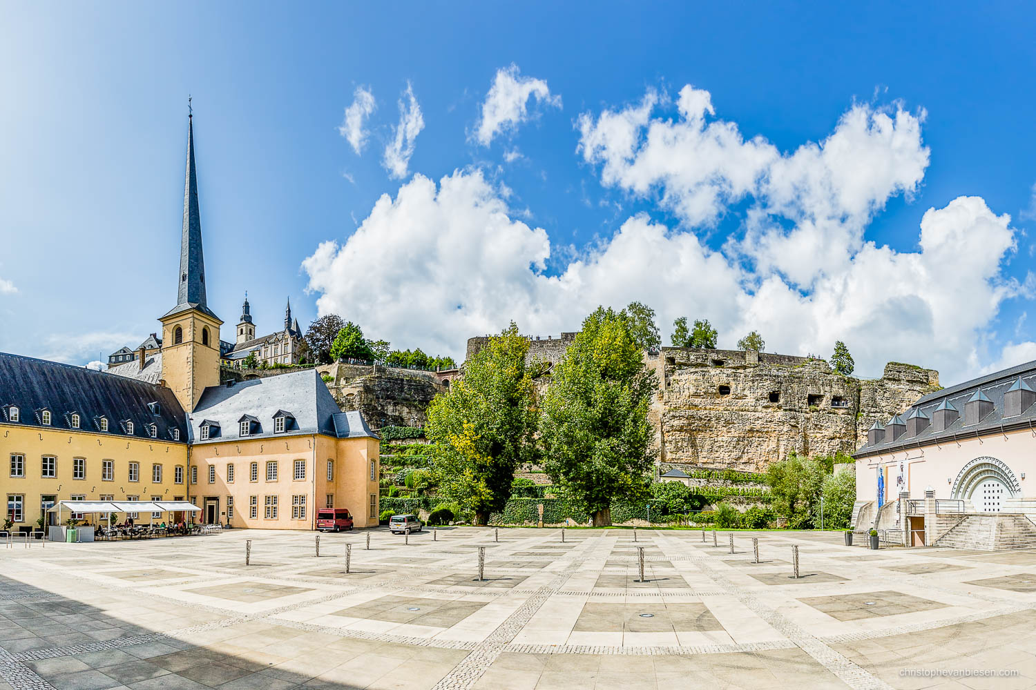 Summer in Luxembourg - The abbey of Neumunster and the ancient Casemates in the Grund neighbourhood in Summer in Luxembourg - Sunshine Plaza