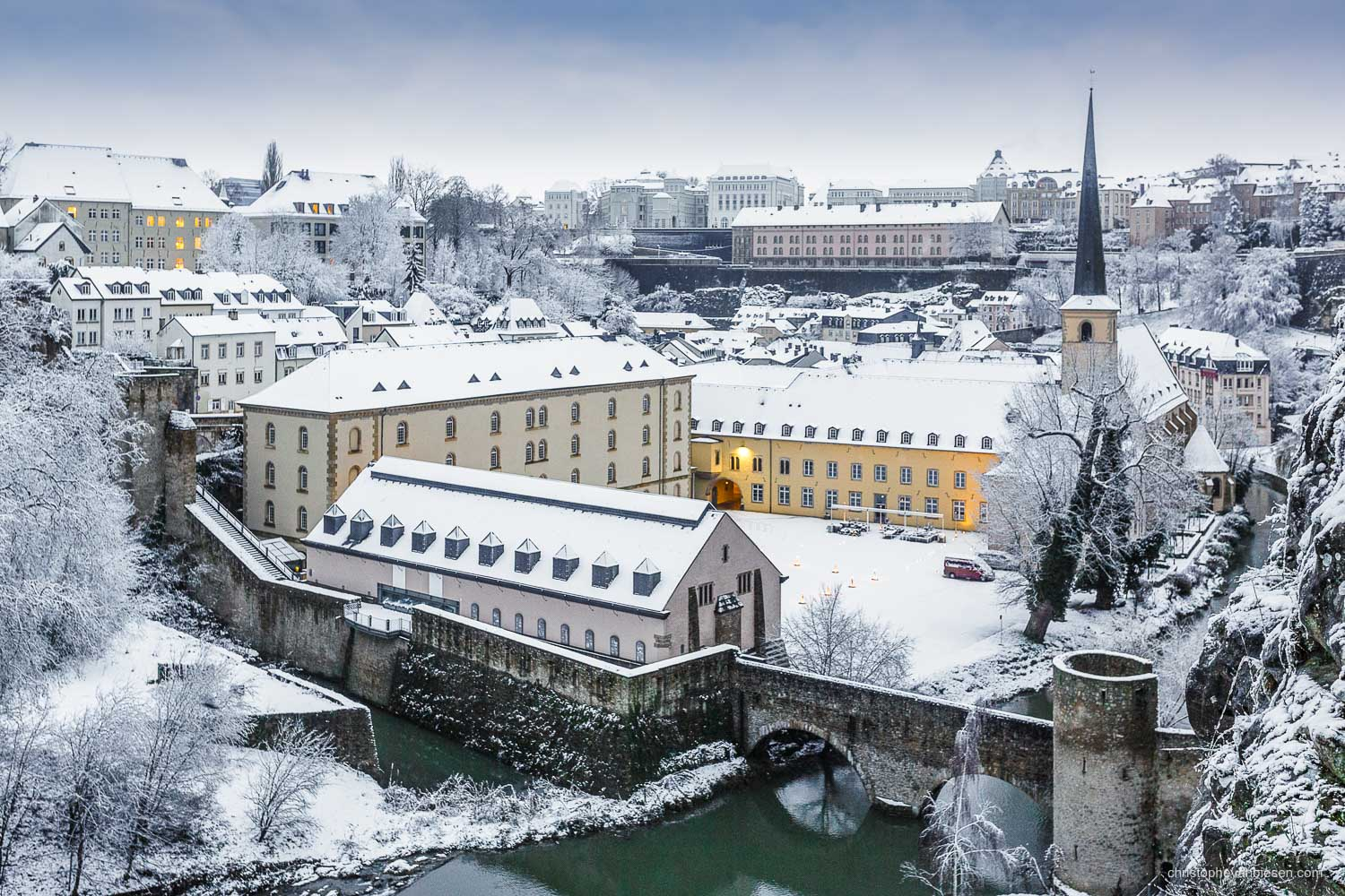 Winter in Luxembourg - Luxembourg's Grund with its Abbey of Neumunster on a Winter morning with snow - White Bliss