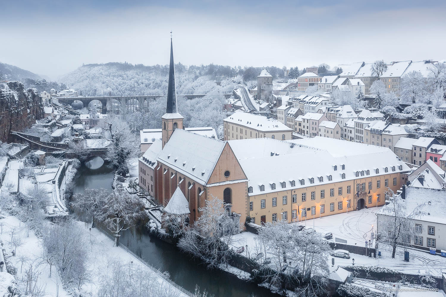 Winter in Luxembourg - Luxembourg's Grund with its Abbey of Neumunster on a Winter morning with snow - White Wonder