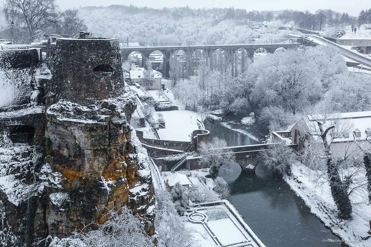Winter in Luxembourg - Luxembourg's Rocher du Bock is one of the best preserved parts of the ancient fortress of the old city - Stronghold