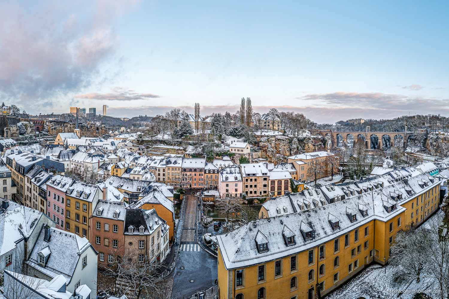 Winter in Luxembourg - Luxembourg's old Grund neighbourhood. This historic place was the city before the gates of the ancient fortress of Luxembourg - Winter Fortress