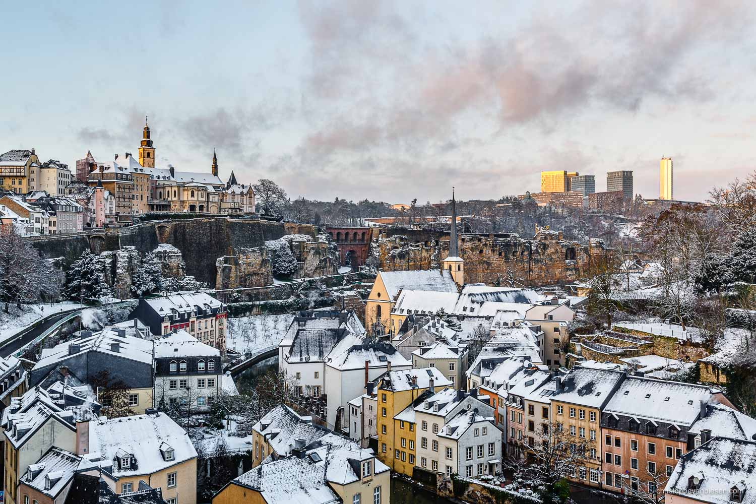 Winter in Luxembourg - Sunset over Luxembourg City's Grund neighbourhood after a winter day that brought a few centimeters of snow - The Fabled City