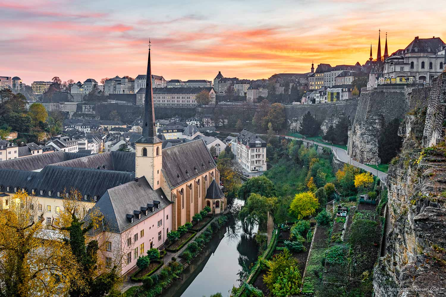 Autumn in Luxembourg - Pink and orange sunset over Luxembourg City during fall - Crimson Twilight
