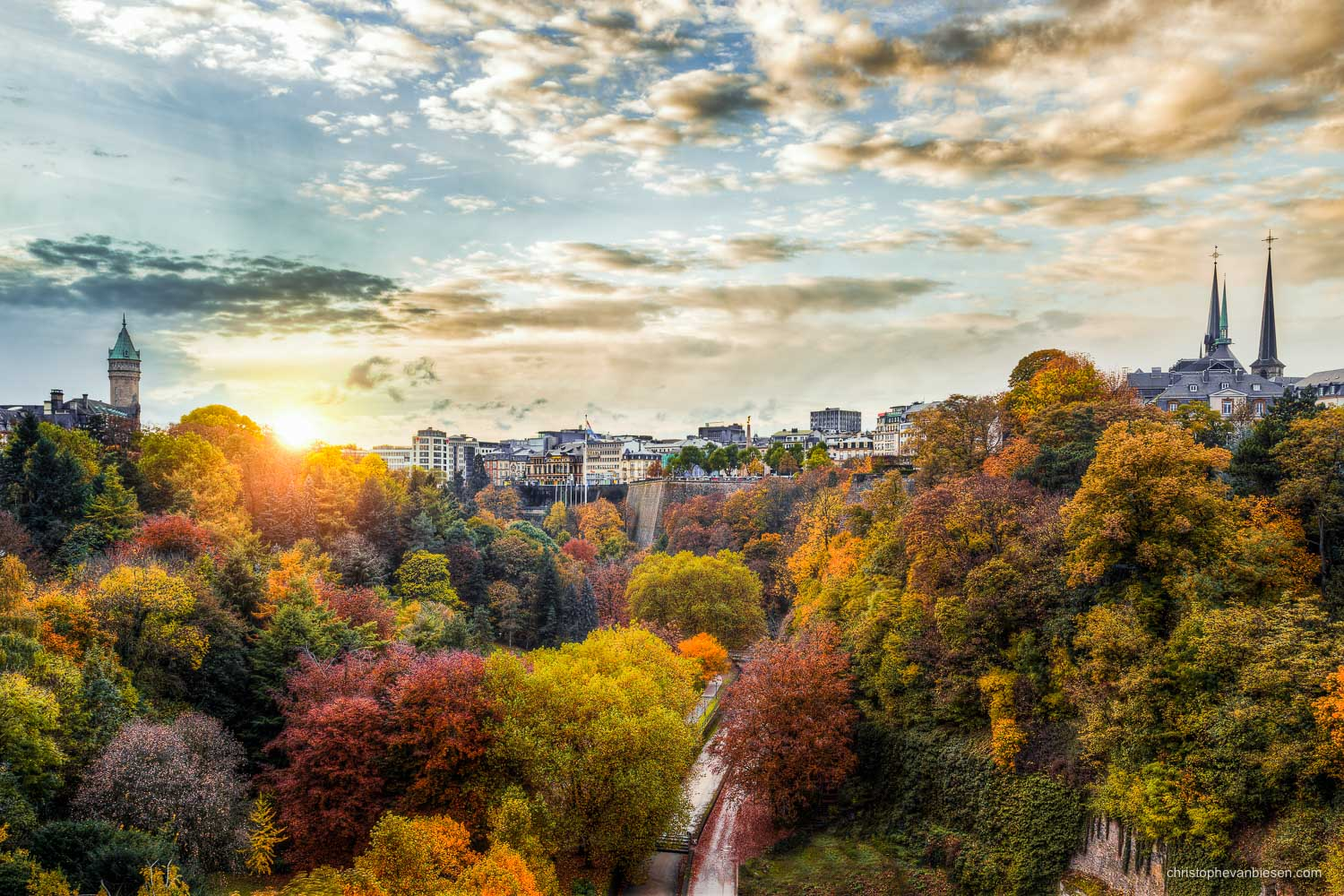Autumn in Luxembourg - Autumn view over the Petrusse valley with the BCEE tower and the rooftops of the Notre-Dame Cathedral in Autumn in Luxembourg - City Ablaze