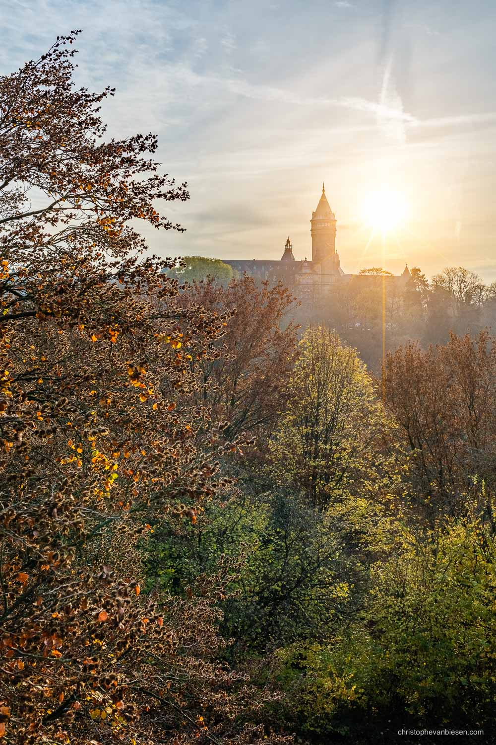 Autumn in Luxembourg - Autumn sunset over Luxembourg's Petrusse valley and the BCEE Tower - Golden Valley