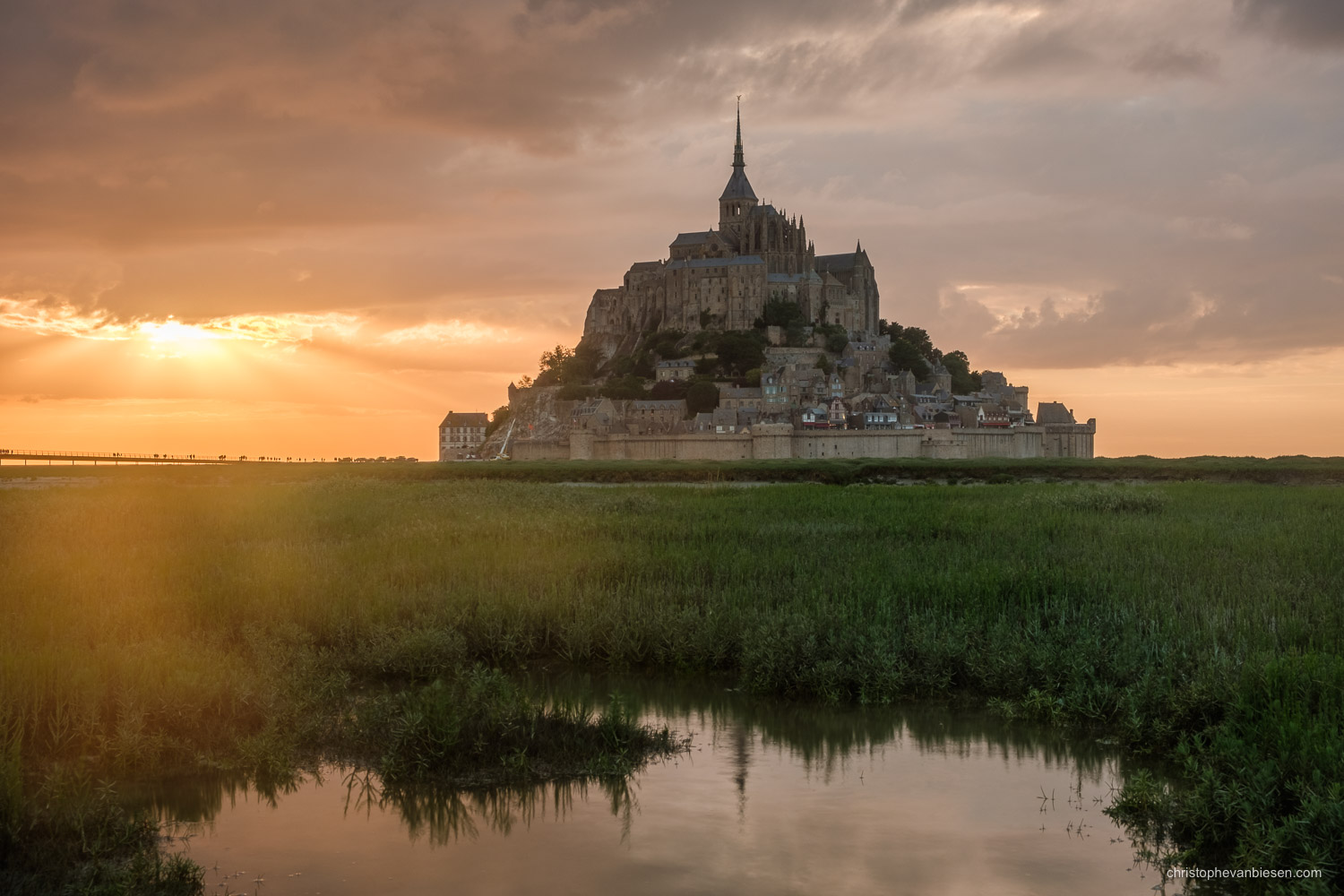 Mont Saint Michel - France - Sunset over the Mont Saint Michel in France, on the border between Normandy and Brittany - The Wonder of the Western World