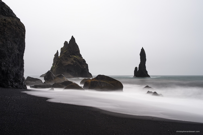 Reynisdrangar - Iceland - Black Sand beaches of Iceland's Southern coastline - Dark Coastline