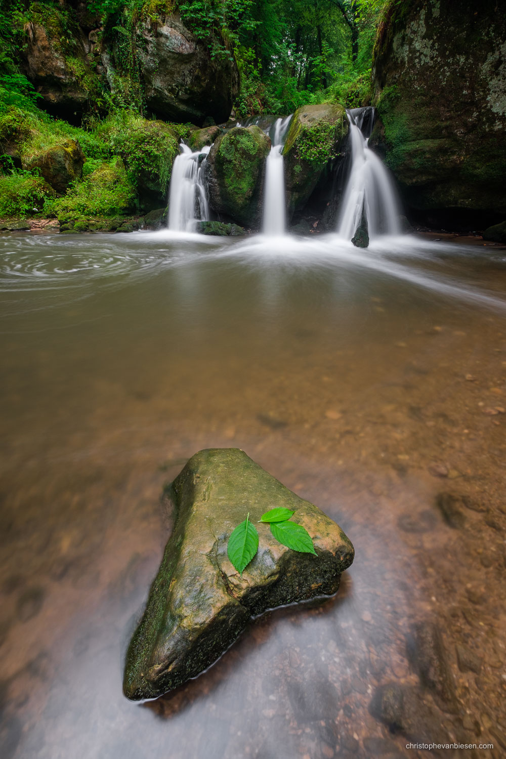 Photography Workshop Mullerthal - Luxembourg - Luxembourg's Schiessentumpel waterfall in the Mullerthal region on a rainy summer day - The Lonely Rock