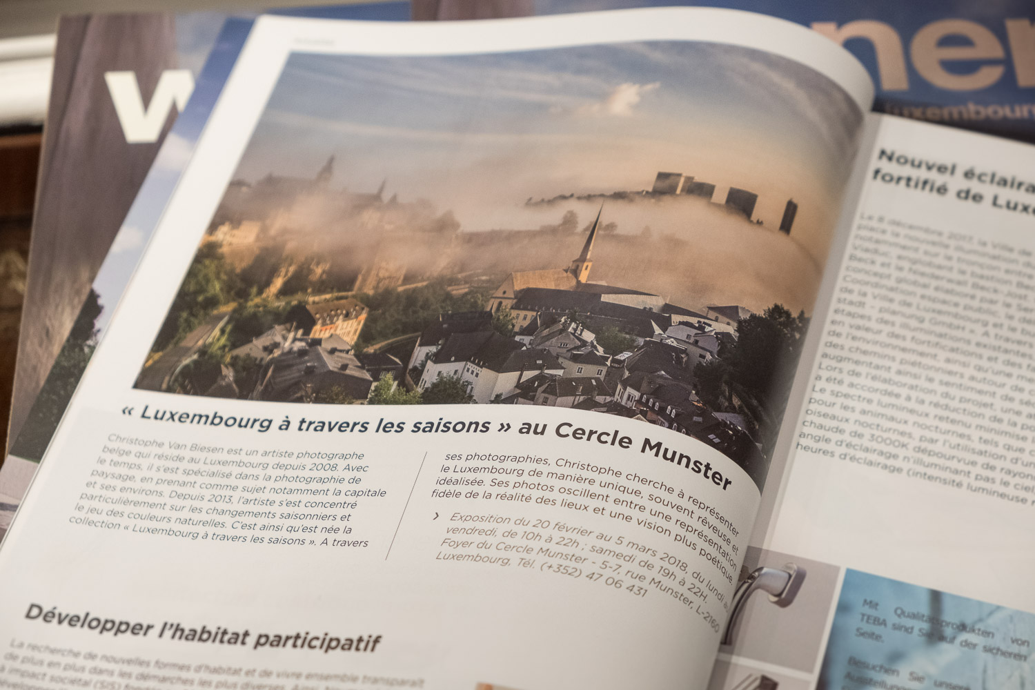 Seasons of Luxembourg by Christophe Van Biesen - Article in Wunnen Magazine - Exhibition at the Cercle Munster - Photography by Christophe Van Biesen - Luxembourg Landscape and Travel Photographer